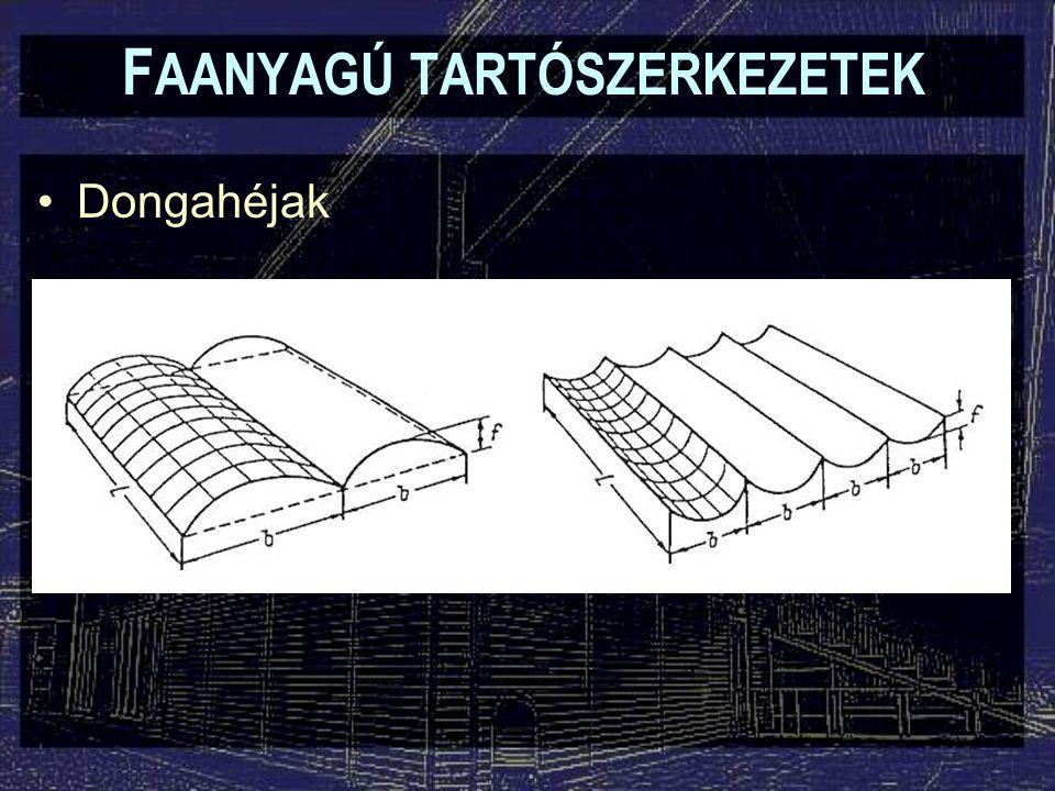 F AANYAGÚ TARTÓSZERKEZETEK Dongahéjak