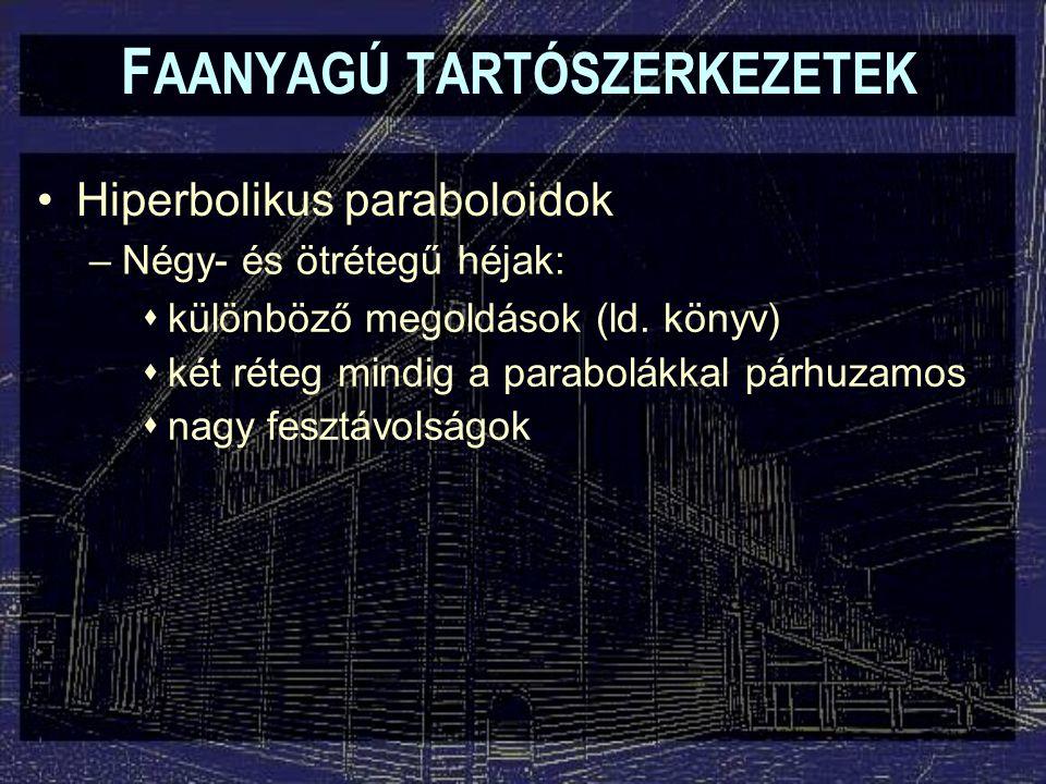 F AANYAGÚ TARTÓSZERKEZETEK Hiperbolikus paraboloidok –Négy- és ötrétegű héjak:  különböző megoldások (ld. könyv)  két réteg mindig a parabolákkal pá