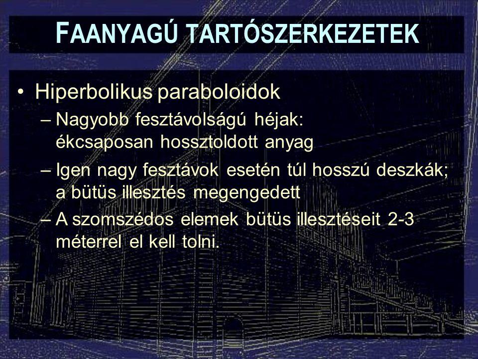 F AANYAGÚ TARTÓSZERKEZETEK Hiperbolikus paraboloidok –Nagyobb fesztávolságú héjak: ékcsaposan hossztoldott anyag –Igen nagy fesztávok esetén túl hossz
