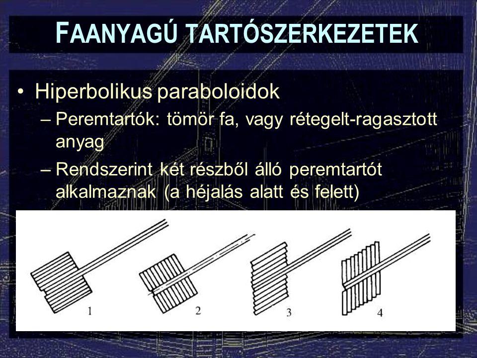 F AANYAGÚ TARTÓSZERKEZETEK Hiperbolikus paraboloidok –Peremtartók: tömör fa, vagy rétegelt-ragasztott anyag –Rendszerint két részből álló peremtartót