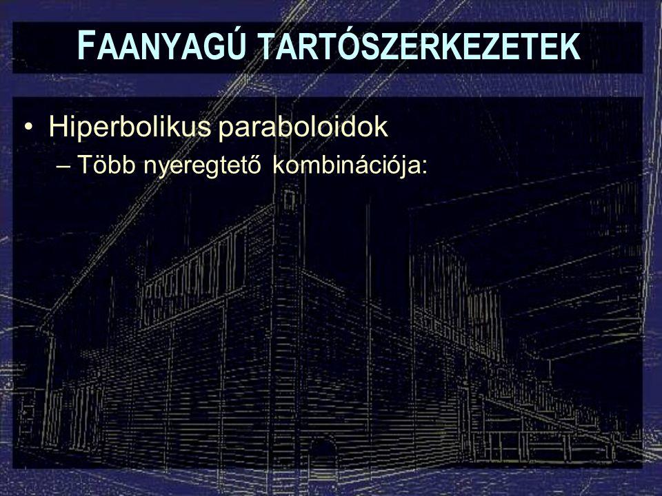 F AANYAGÚ TARTÓSZERKEZETEK Hiperbolikus paraboloidok –Több nyeregtető kombinációja: