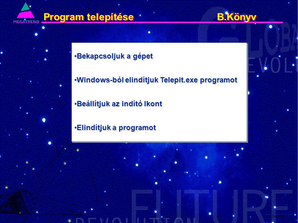 3. IS2PRI2 02/96 Program telepítése B.Könyv Bekapcsoljuk a gépetBekapcsoljuk a gépet Windows-ból elindítjuk Telepit.exe programotWindows-ból elindítju