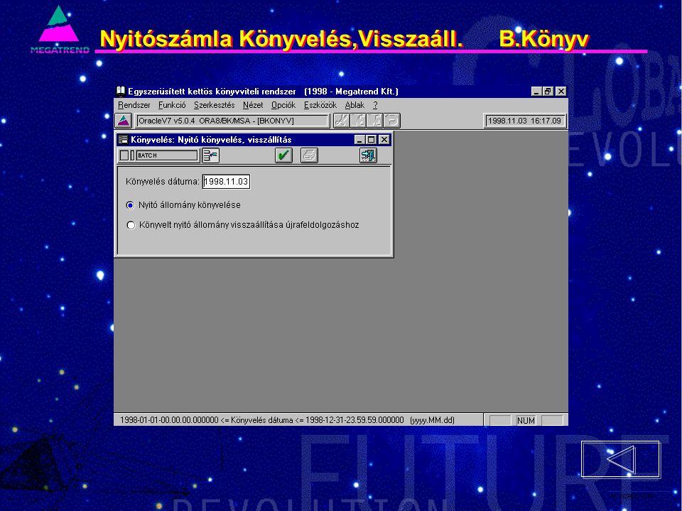 49. IS2PRI2 02/96 Nyitószámla Könyvelés,Visszaáll. B.Könyv