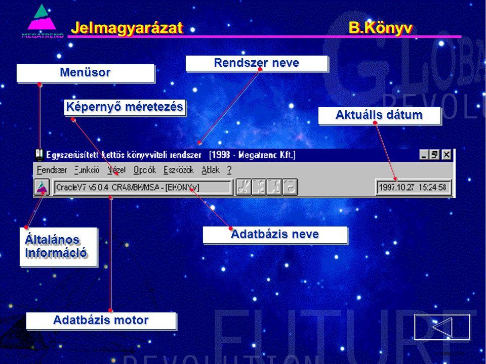6. IS2PRI2 02/96 Jelmagyarázat B.Könyv Rendszer neve MenüsorMenüsor Adatbázis motor Adatbázis neve Aktuális dátum ÁltalánosinformációÁltalánosinformác