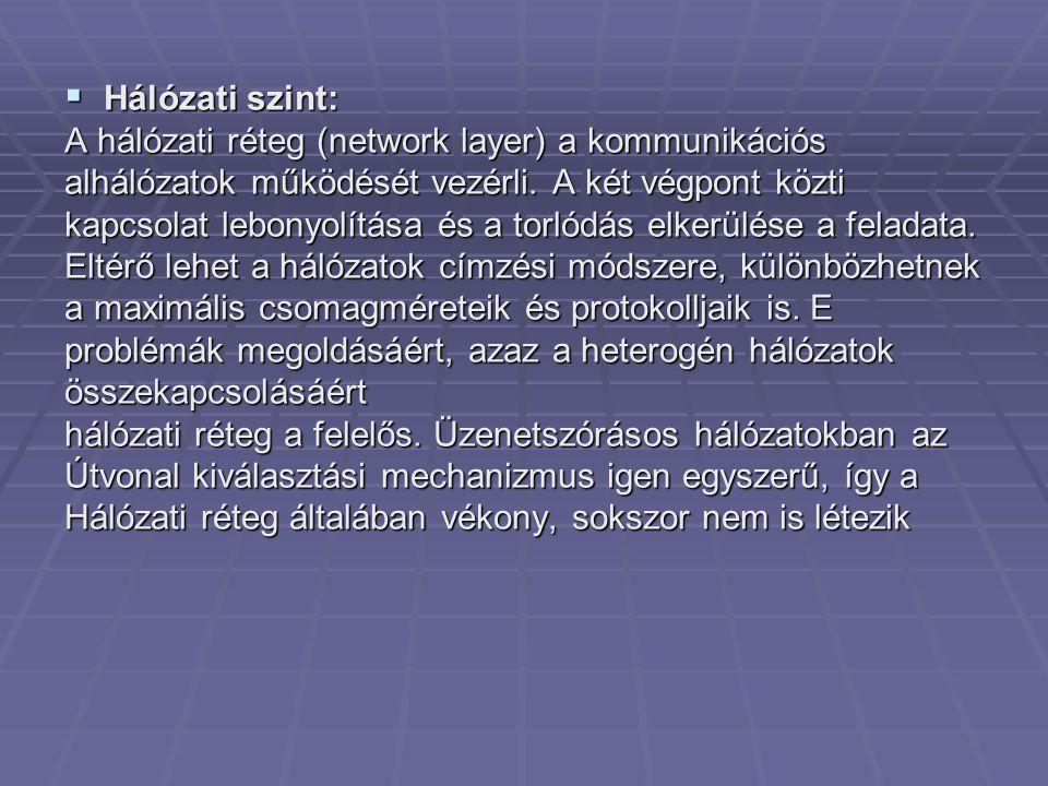  Hálózati szint: A hálózati réteg (network layer) a kommunikációs alhálózatok működését vezérli. A két végpont közti kapcsolat lebonyolítása és a tor