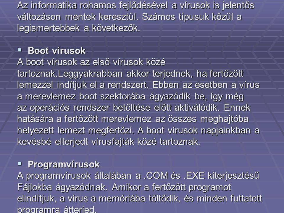 Az informatika rohamos fejlődésével a vírusok is jelentős változáson mentek keresztül.
