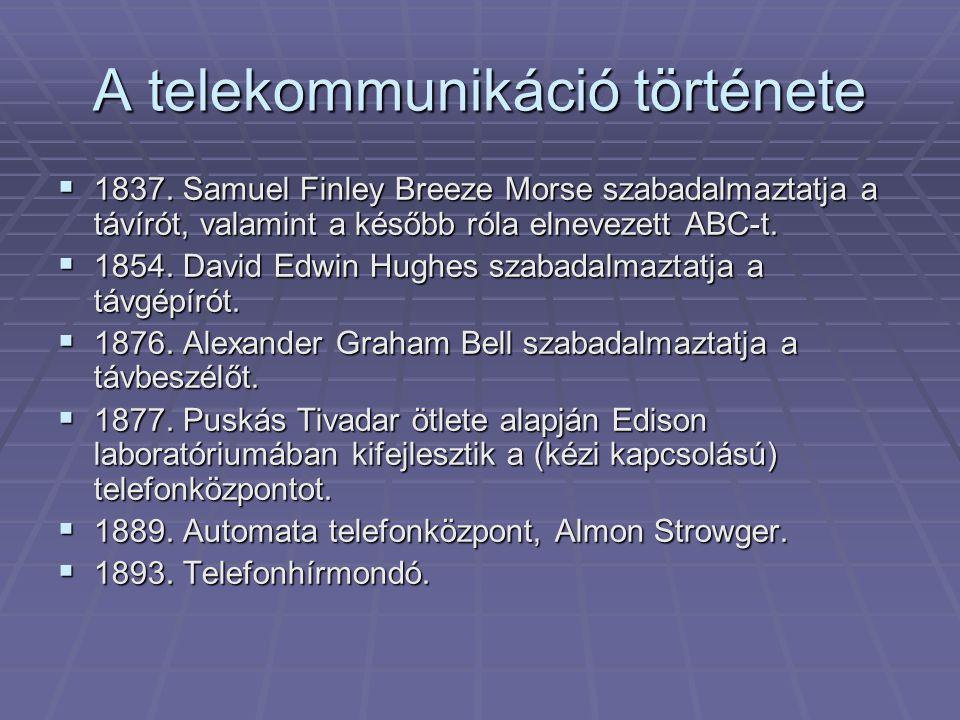 A telekommunikáció története  1837. Samuel Finley Breeze Morse szabadalmaztatja a távírót, valamint a később róla elnevezett ABC-t.  1854. David Edw