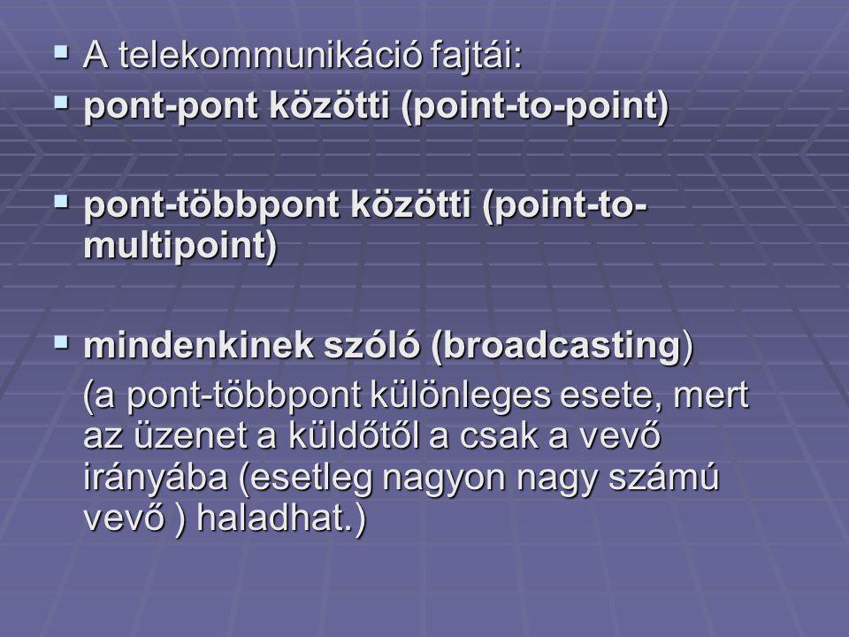  A telekommunikáció fajtái:  pont-pont közötti (point-to-point)  pont-többpont közötti (point-to- multipoint)  mindenkinek szóló (broadcasting) (a pont-többpont különleges esete, mert az üzenet a küldőtől a csak a vevő irányába (esetleg nagyon nagy számú vevő ) haladhat.) (a pont-többpont különleges esete, mert az üzenet a küldőtől a csak a vevő irányába (esetleg nagyon nagy számú vevő ) haladhat.)