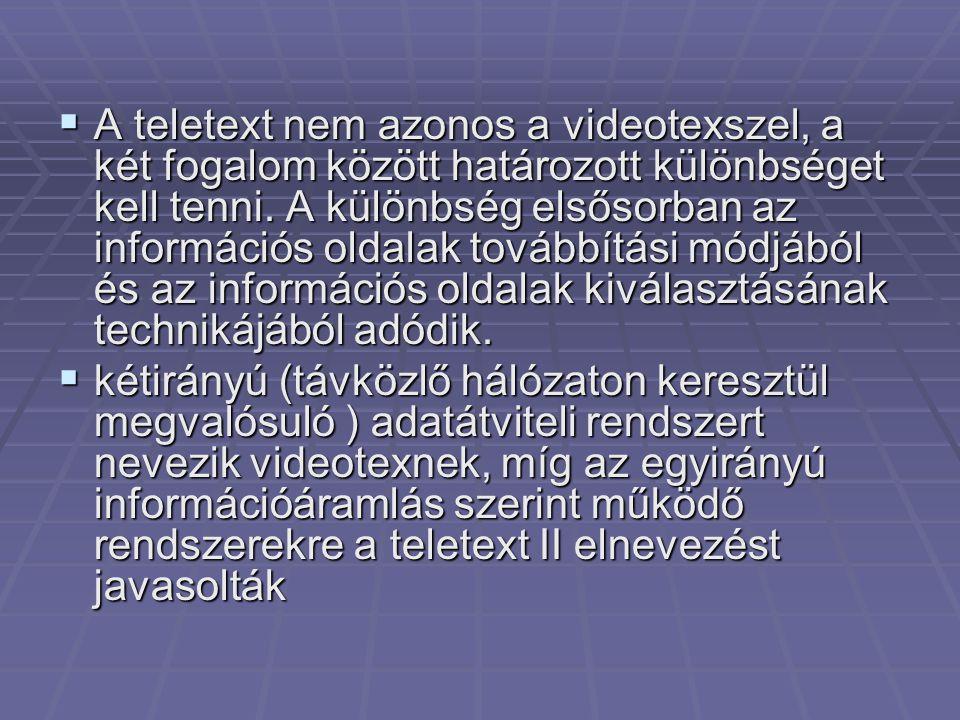  A teletext nem azonos a videotexszel, a két fogalom között határozott különbséget kell tenni. A különbség elsősorban az információs oldalak továbbít