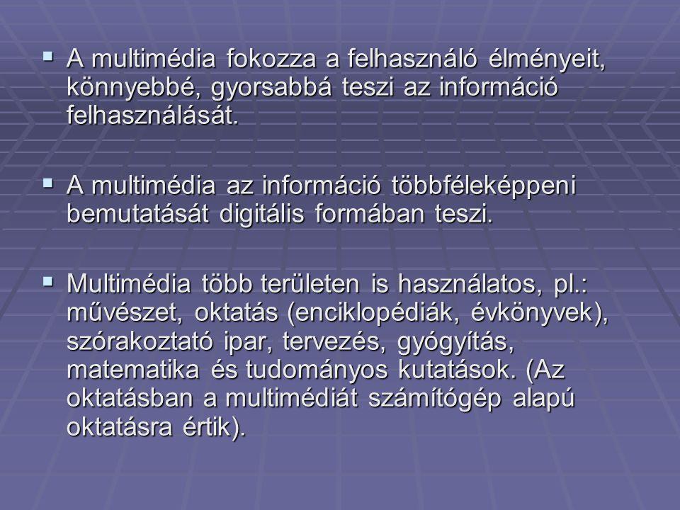  A multimédia fokozza a felhasználó élményeit, könnyebbé, gyorsabbá teszi az információ felhasználását.  A multimédia az információ többféleképpeni