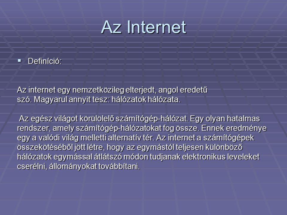 Az Internet  Definíció: Az internet egy nemzetközileg elterjedt, angol eredetű szó. Magyarul annyit tesz: hálózatok hálózata. Az egész világot körülö