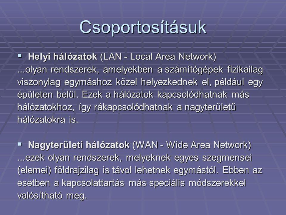 Csoportosításuk  Helyi hálózatok (LAN - Local Area Network)...olyan rendszerek, amelyekben a számítógépek fizikailag viszonylag egymáshoz közel helyezkednek el, például egy épületen belül.
