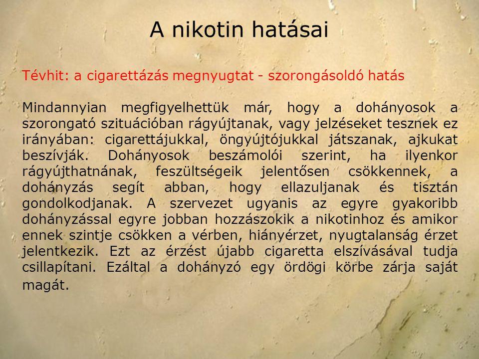A nikotin hatásai Tévhit: a cigarettázás megnyugtat - szorongásoldó hatás Mindannyian megfigyelhettük már, hogy a dohányosok a szorongató szituációban