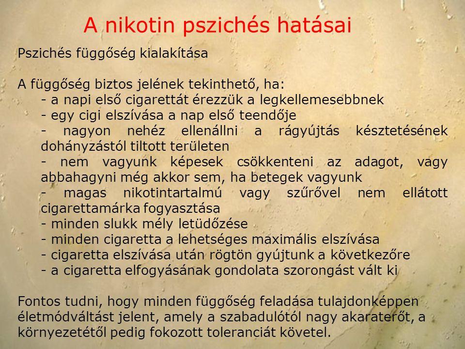 Pszichés függőség kialakítása A függőség biztos jelének tekinthető, ha: - a napi első cigarettát érezzük a legkellemesebbnek - egy cigi elszívása a na