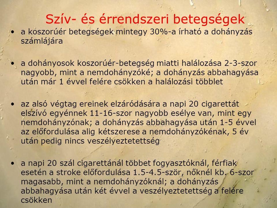 Szív- és érrendszeri betegségek a koszorúér betegségek mintegy 30%-a írható a dohányzás számlájára a dohányosok koszorúér-betegség miatti halálozása 2