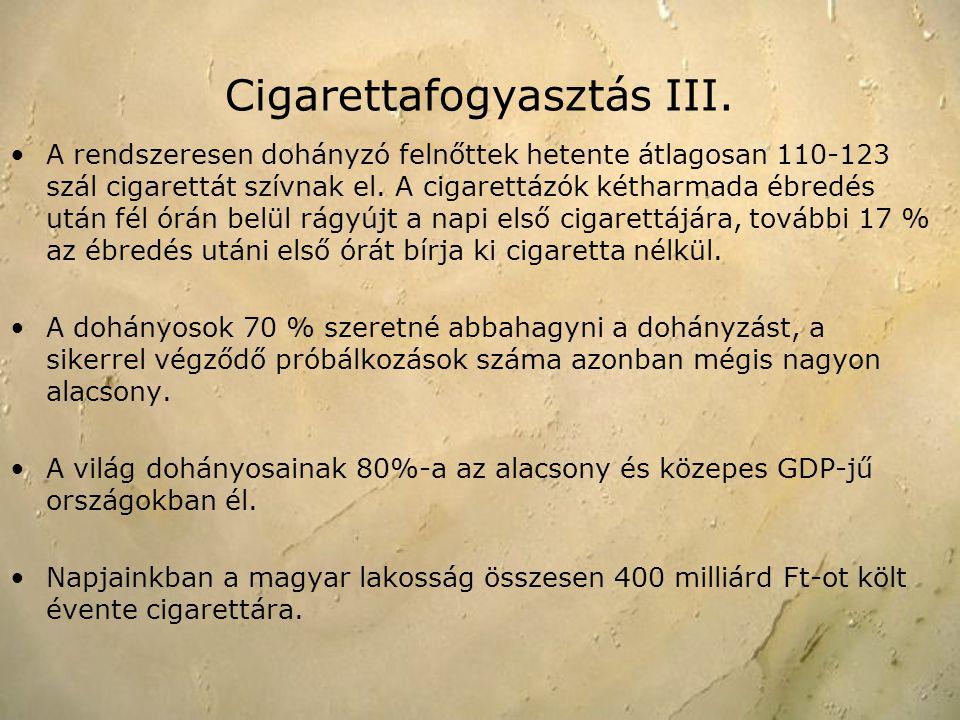 A rendszeresen dohányzó felnőttek hetente átlagosan 110-123 szál cigarettát szívnak el. A cigarettázók kétharmada ébredés után fél órán belül rágyújt