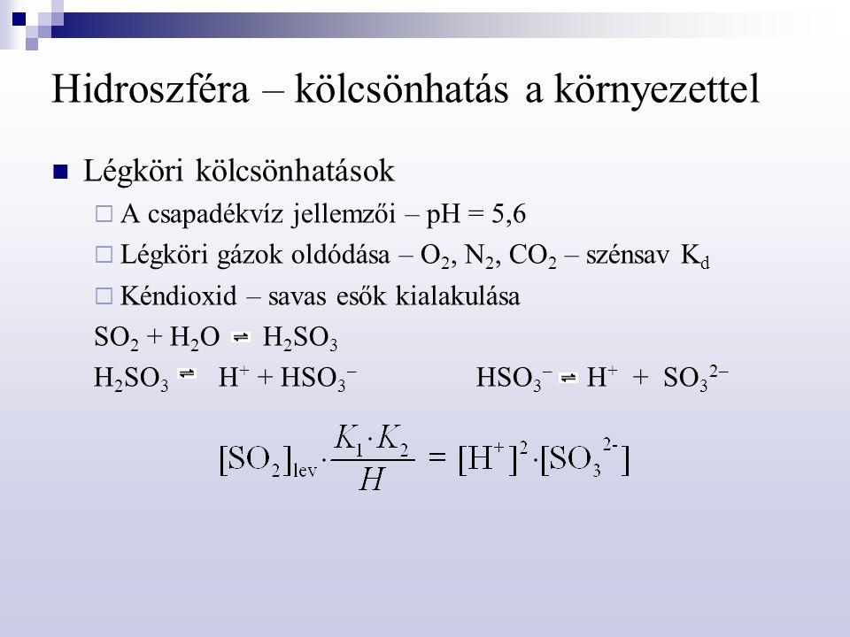 Hidroszféra – kölcsönhatás a környezettel Légköri kölcsönhatások  A csapadékvíz jellemzői – pH = 5,6  Légköri gázok oldódása – O 2, N 2, CO 2 – szén