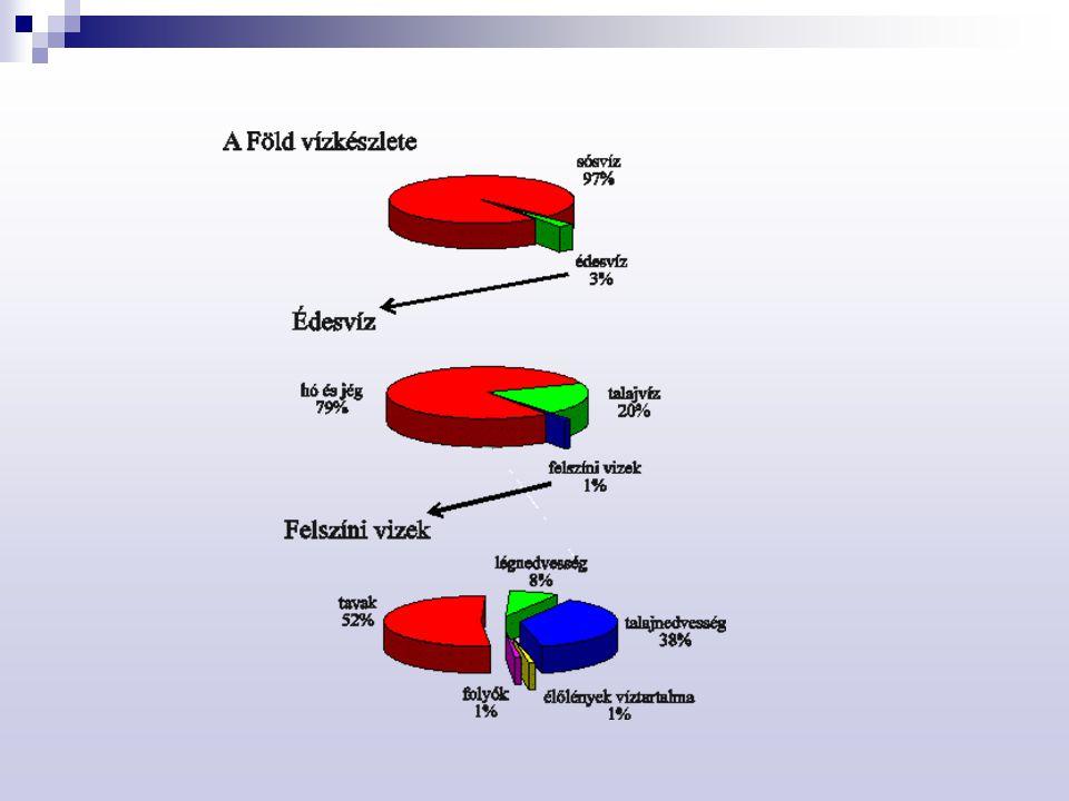 Hidroszféra – kölcsönhatás a környezettel Légköri kölcsönhatások  Kénsav jelenléte a savas esőben  SO 2 + O 2  SO 3 (290-400 nm)  HSO 3 –  HSO 4 – (fémion katalizált; O 3 )  Lúgos kémhatású anyagok jelenléte  Savas eső károsító hatása Homokkő szobor 1702-ből, lefényképezve 1908-ban (bal), és 1969-ben (jobb).