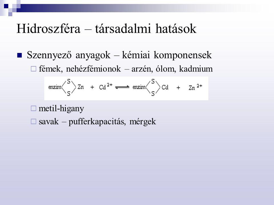 Hidroszféra – társadalmi hatások Szennyező anyagok – kémiai komponensek  fémek, nehézfémionok – arzén, ólom, kadmium  metil-higany  savak – pufferk