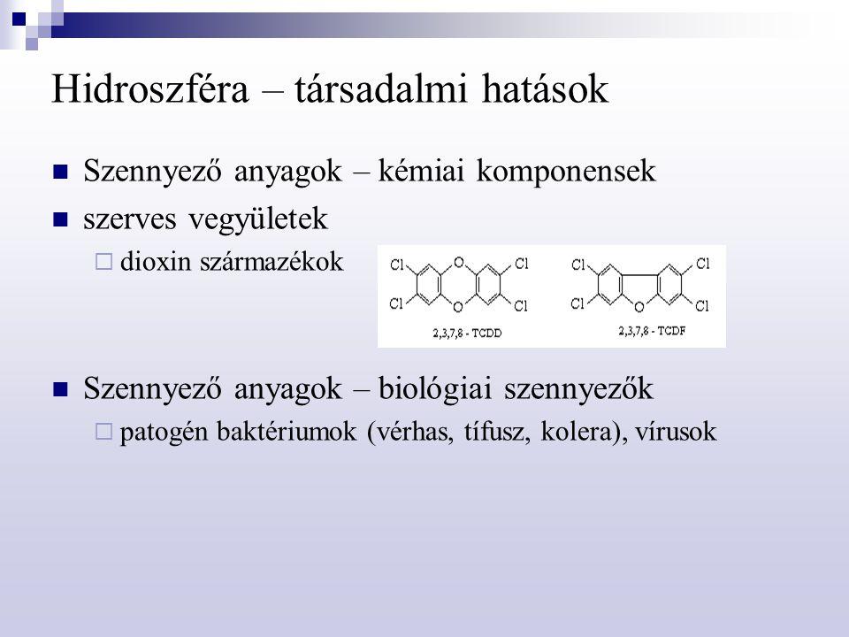 Hidroszféra – társadalmi hatások Szennyező anyagok – kémiai komponensek szerves vegyületek  dioxin származékok Szennyező anyagok – biológiai szennyez