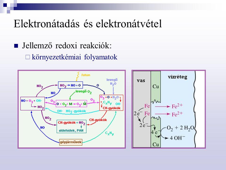 Mindennapok galvánelemei Tüzelőanyag elemek: égési folyamat két részreakciója térben elválasztva porózus elektródokon megy végbe hatásfok: 75-90 % hidrogén-oxigén tüzelőanyag-cella anód: 2 H 2 + 4 OH   4 H 2 O + 4 e  katód: O 2 + 2 H 2 O + 4 e   4 OH 