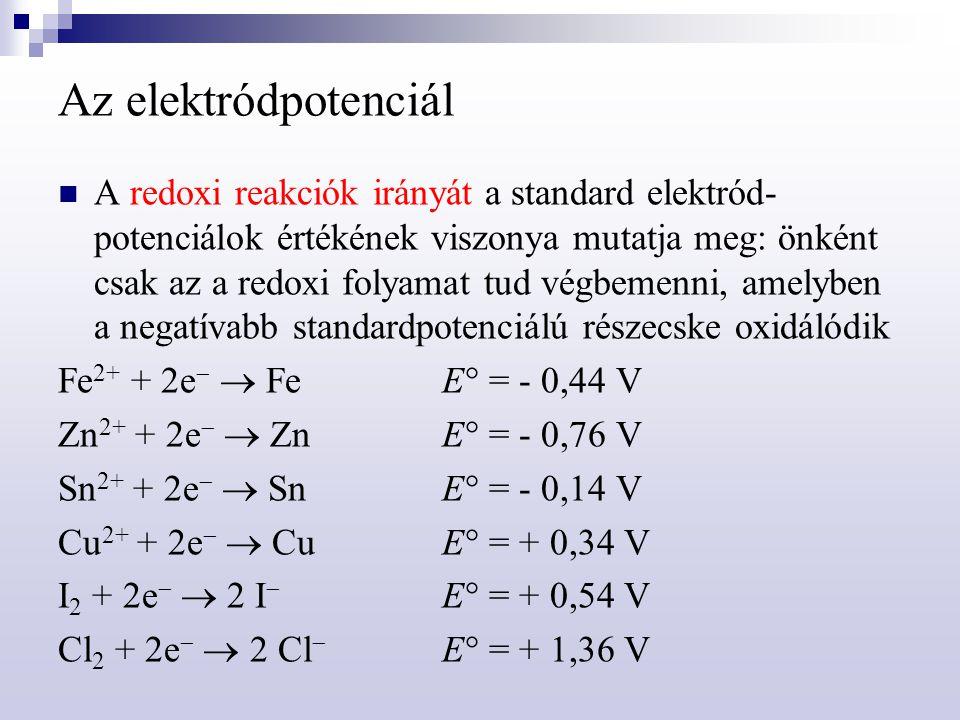 Az elektródpotenciál A Nernst-egyenlet: az elektród potenciáljának értéke adott körülmények között  fémelektród  redoxielektród  vizes oldat kémhatása