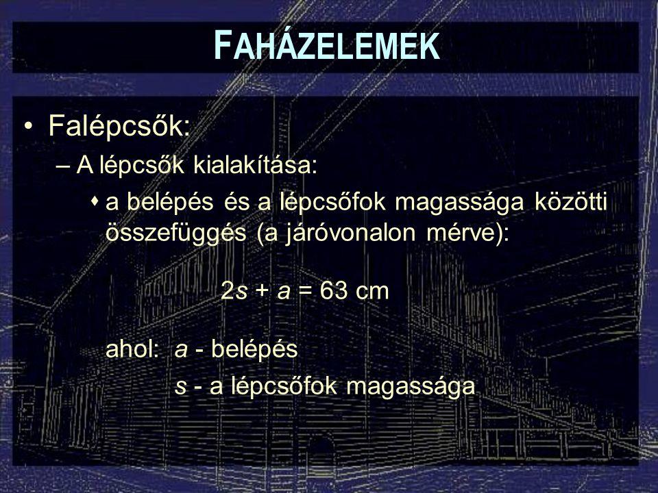 F AHÁZELEMEK Falépcsők: –A lépcsők kialakítása:  a belépés és a lépcsőfok magassága közötti összefüggés (a járóvonalon mérve): 2s + a = 63 cm ahol:a - belépés s - a lépcsőfok magassága