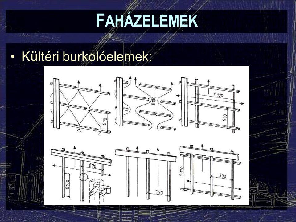 F AHÁZELEMEK Falépcsők: –Lépcsőfok: általában 30-45 mm vastag deszka (sokszor szélességben toldott) –A lépcsőfokokat 2-3 cm átfedéssel kell elhelyezni –A felületet célszerű valamilyen csúszásgátlással ellátni –Homloklap: a lépcsőfokokhoz ragasztott vagy mechanikus kapcsolattal csatlakozik
