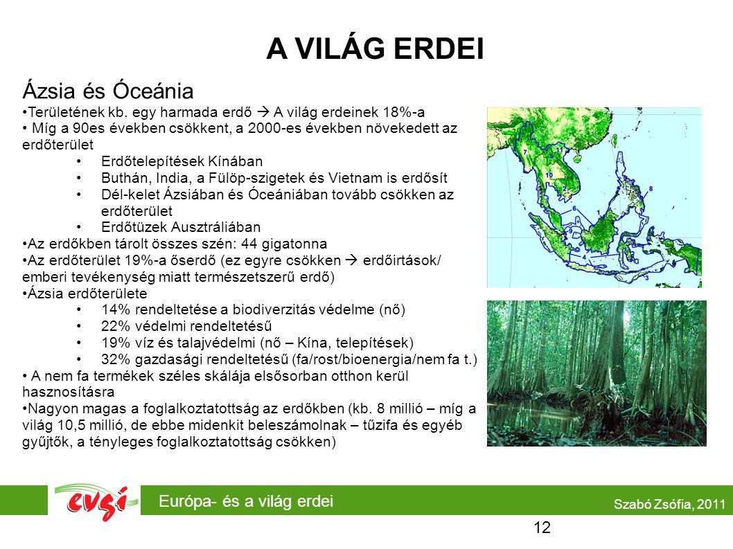 Európa- és a világ erdei A VILÁG ERDEI Ázsia és Óceánia Területének kb. egy harmada erdő  A világ erdeinek 18%-a Míg a 90es években csökkent, a 2000-