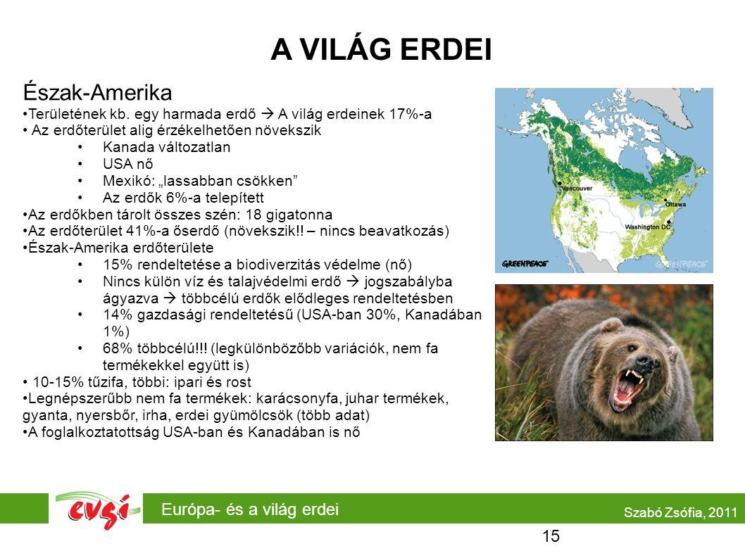 Európa- és a világ erdei A VILÁG ERDEI Észak-Amerika Területének kb. egy harmada erdő  A világ erdeinek 17%-a Az erdőterület alig érzékelhetően növek