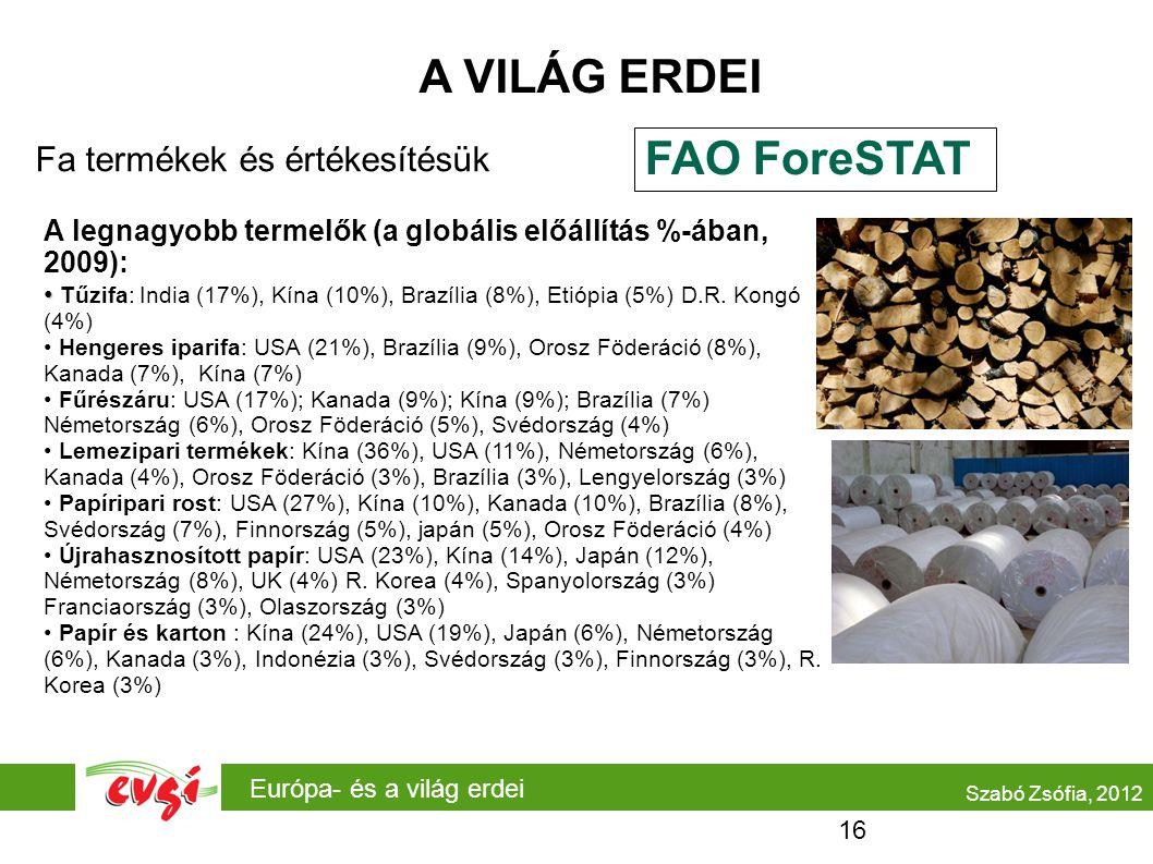 Európa- és a világ erdei A VILÁG ERDEI Fa termékek és értékesítésük Szabó Zsófia, 2012 A legnagyobb termelők (a globális előállítás %-ában, 2009): Tűz