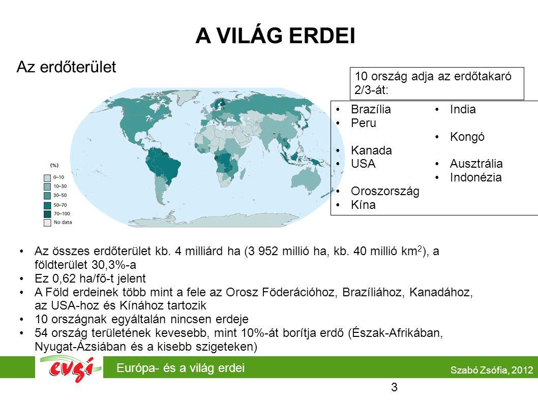 Európa- és a világ erdei A VILÁG ERDEI Az erdőterület Szabó Zsófia, 2012 Az összes erdőterület kb. 4 milliárd ha (3 952 millió ha, kb. 40 millió km 2