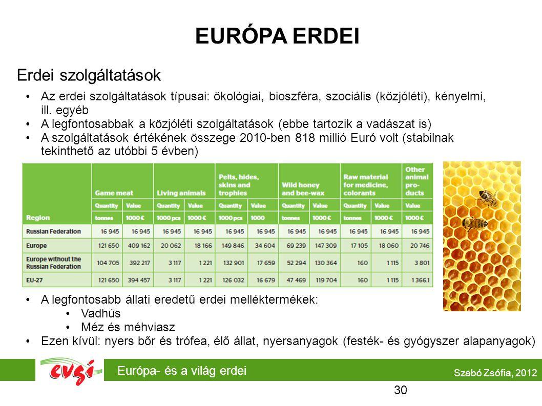 Európa- és a világ erdei EURÓPA ERDEI Erdei szolgáltatások Az erdei szolgáltatások típusai: ökológiai, bioszféra, szociális (közjóléti), kényelmi, ill
