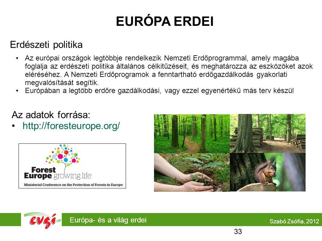 Európa- és a világ erdei EURÓPA ERDEI Erdészeti politika Az európai országok legtöbbje rendelkezik Nemzeti Erdőprogrammal, amely magába foglalja az er