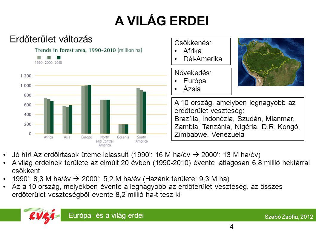 Európa- és a világ erdei A VILÁG ERDEI Erdőterület változás Szabó Zsófia, 2012 Csökkenés: Afrika Dél-Amerika Jó hír! Az erdőirtások üteme lelassult (1