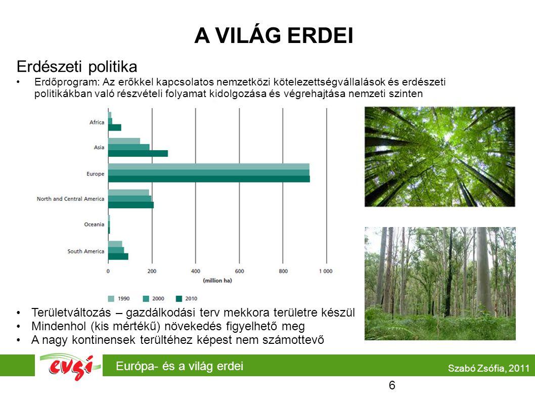 Európa- és a világ erdei A VILÁG ERDEI Erdészeti politika Erdőprogram: Az erőkkel kapcsolatos nemzetközi kötelezettségvállalások és erdészeti politiká