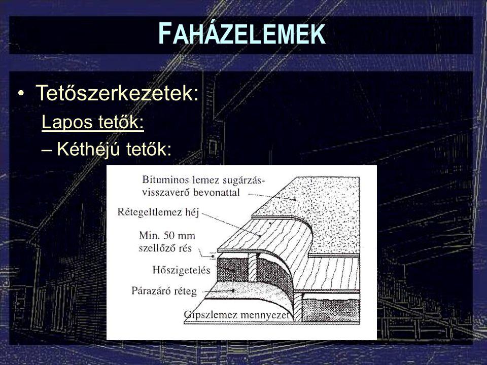 F AHÁZELEMEK Tetőszerkezetek: Lapos tetők: –Kéthéjú tetők: