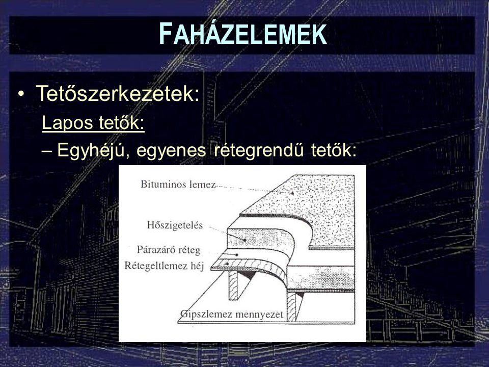 F AHÁZELEMEK Tetőszerkezetek: Lapos tetők: –Egyhéjú, egyenes rétegrendű tetők: