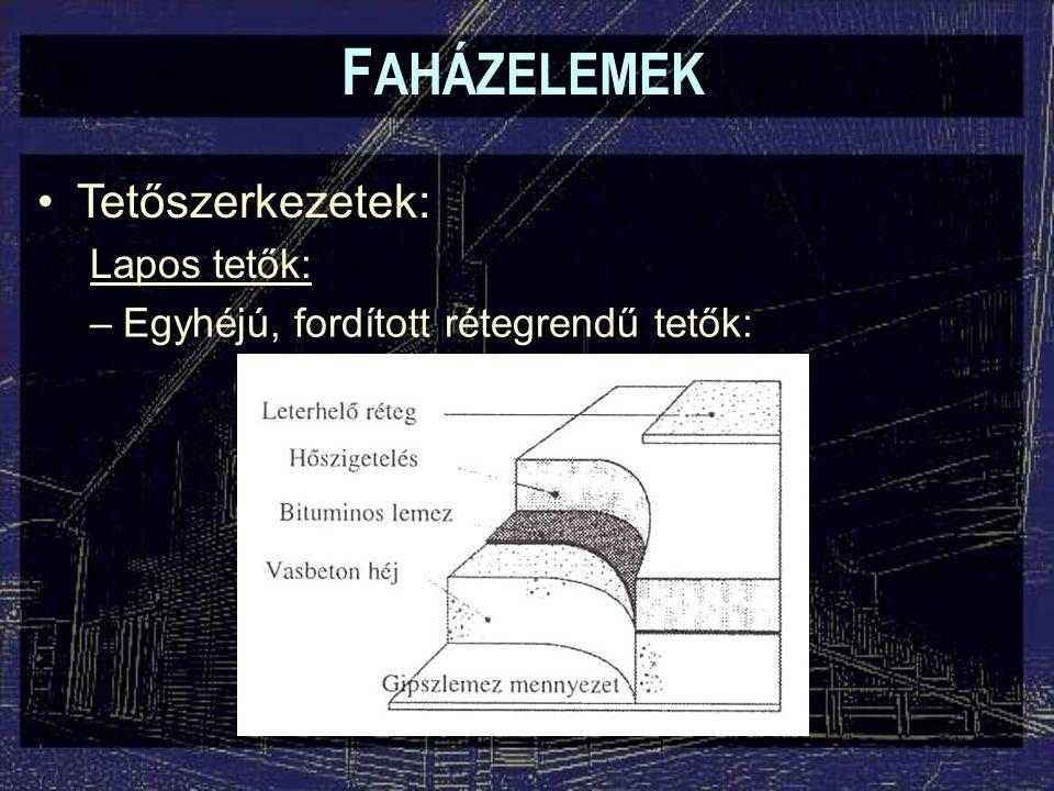 F AHÁZELEMEK Tetőszerkezetek: Lapos tetők: –Egyhéjú, fordított rétegrendű tetők: