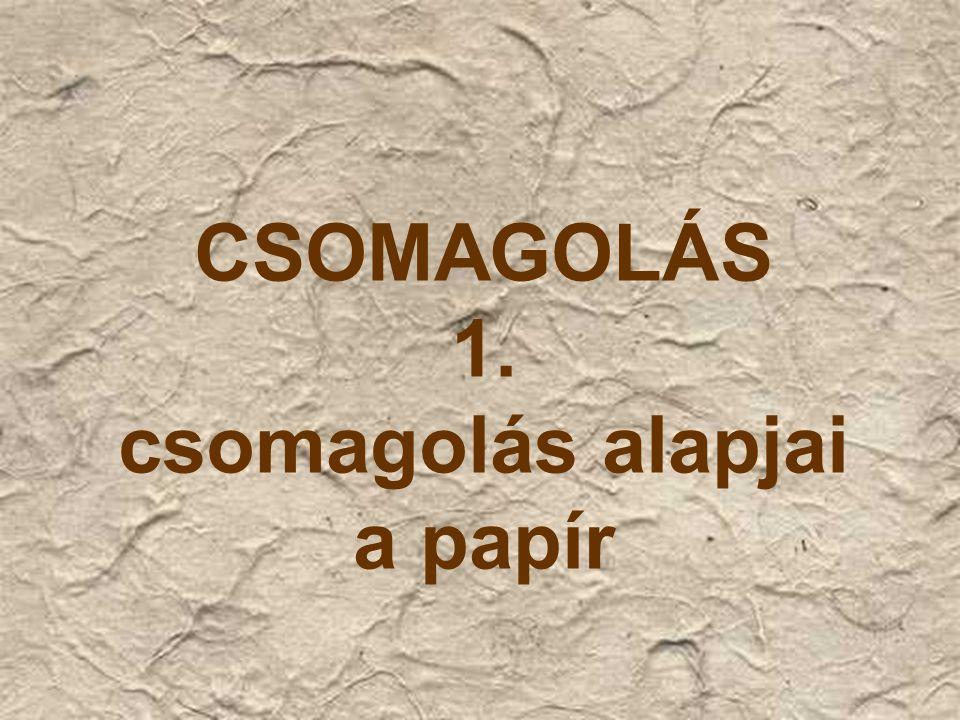 CSOMAGOLÁS 1. csomagolás alapjai a papír
