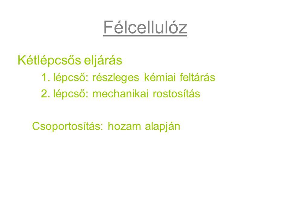 Félcellulóz Kétlépcsős eljárás 1. lépcső: részleges kémiai feltárás 2. lépcső: mechanikai rostosítás Csoportosítás: hozam alapján