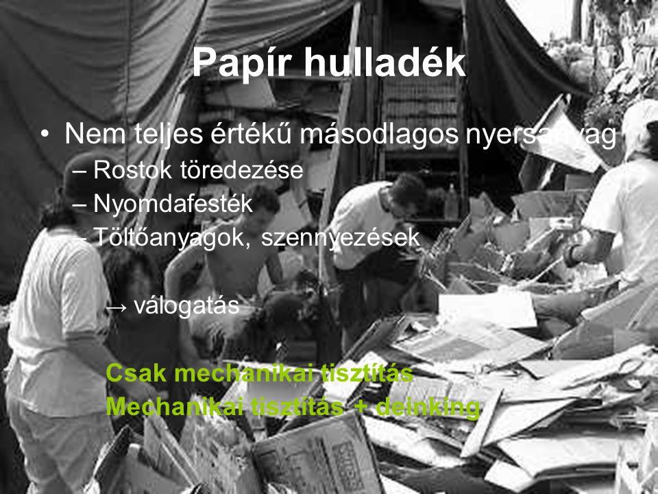 Papír hulladék Nem teljes értékű másodlagos nyersanyag –Rostok töredezése –Nyomdafesték –Töltőanyagok, szennyezések → válogatás Csak mechanikai tisztí