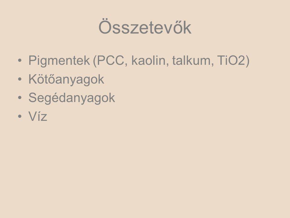 Összetevők Pigmentek (PCC, kaolin, talkum, TiO2) Kötőanyagok Segédanyagok Víz