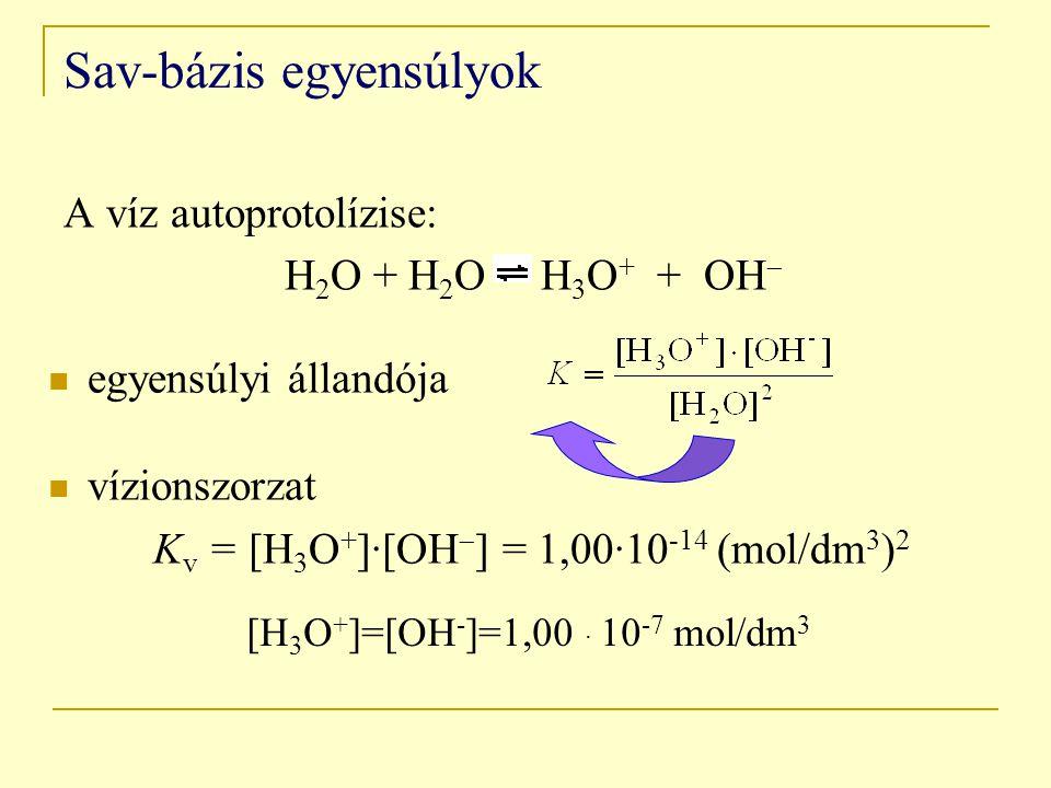 Sav-bázis egyensúlyok A víz autoprotolízise: H 2 O + H 2 O H 3 O + + OH  egyensúlyi állandója vízionszorzat K v = [H 3 O + ]·[OH  ] = 1,00·10 -14 (mol/dm 3 ) 2 [H 3 O + ]=[OH - ]=1,00 · 10 -7 mol/dm 3