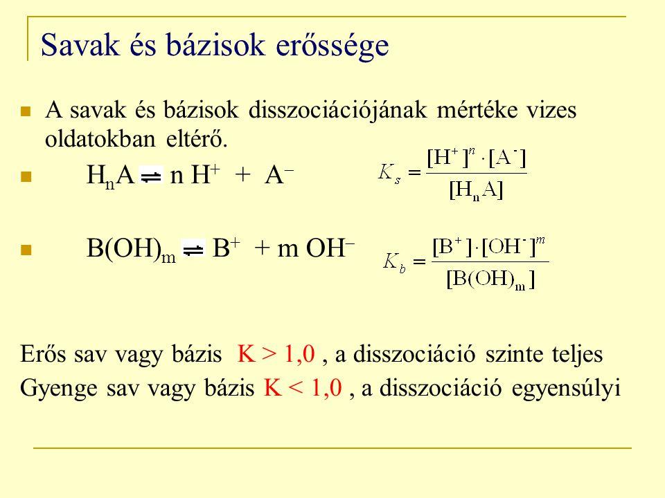 Savak és bázisok erőssége A savak és bázisok disszociációjának mértéke vizes oldatokban eltérő. H n A n H + + A  B(OH) m B + + m OH  Erős sav vagy b