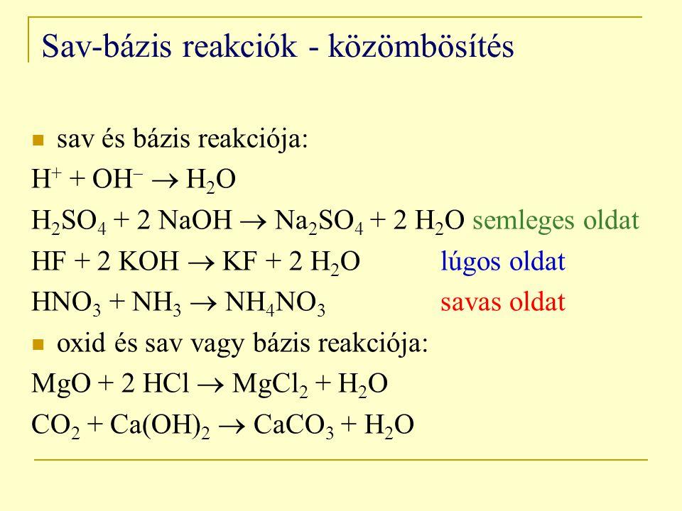 Sav-bázis reakciók - közömbösítés sav és bázis reakciója: H + + OH   H 2 O H 2 SO 4 + 2 NaOH  Na 2 SO 4 + 2 H 2 O semleges oldat HF + 2 KOH  KF + 2 H 2 O lúgos oldat HNO 3 + NH 3  NH 4 NO 3 savas oldat oxid és sav vagy bázis reakciója: MgO + 2 HCl  MgCl 2 + H 2 O CO 2 + Ca(OH) 2  CaCO 3 + H 2 O