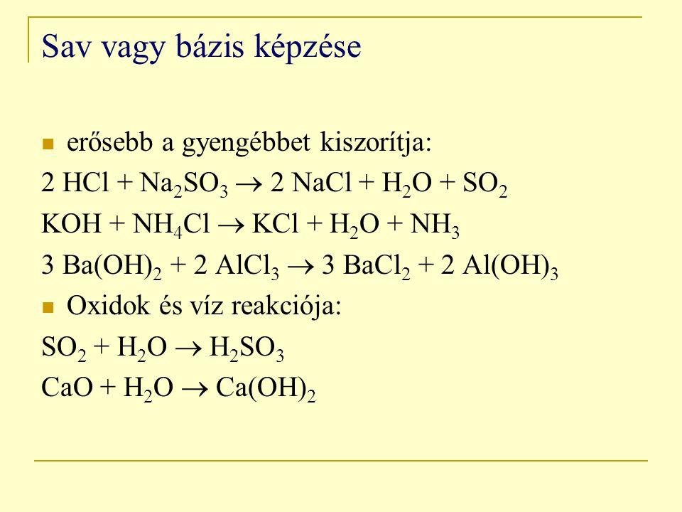 Sav vagy bázis képzése erősebb a gyengébbet kiszorítja: 2 HCl + Na 2 SO 3  2 NaCl + H 2 O + SO 2 KOH + NH 4 Cl  KCl + H 2 O + NH 3 3 Ba(OH) 2 + 2 AlCl 3  3 BaCl 2 + 2 Al(OH) 3 Oxidok és víz reakciója: SO 2 + H 2 O  H 2 SO 3 CaO + H 2 O  Ca(OH) 2