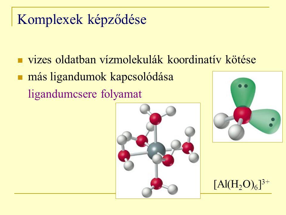 Komplexek képződése vizes oldatban vízmolekulák koordinatív kötése más ligandumok kapcsolódása ligandumcsere folyamat [Al(H 2 O) 6 ] 3+