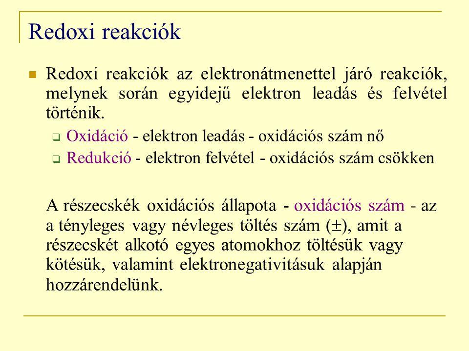 Redoxi reakciók Redoxi reakciók az elektronátmenettel járó reakciók, melynek során egyidejű elektron leadás és felvétel történik.  Oxidáció - elektro