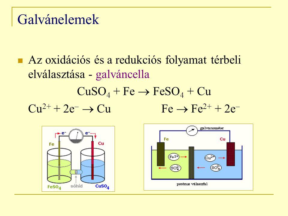 Galvánelemek Az oxidációs és a redukciós folyamat térbeli elválasztása - galváncella CuSO 4 + Fe  FeSO 4 + Cu Cu 2+ + 2e   CuFe  Fe 2+ + 2e 